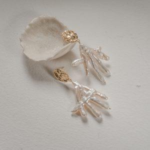 Серьги «Птичьи лапки» с позолотой