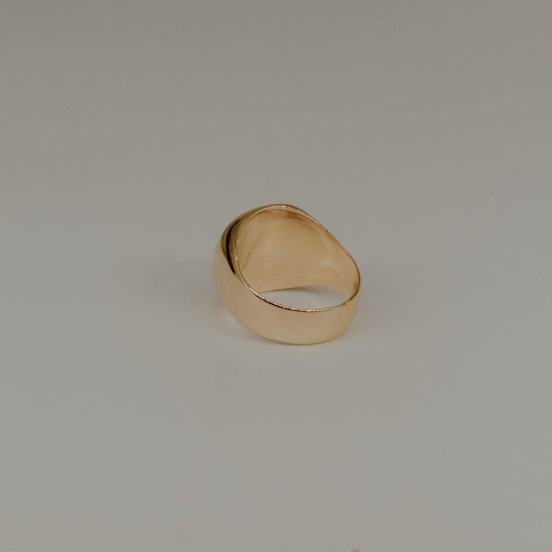 Кольцо печатка без камня, позолота 2