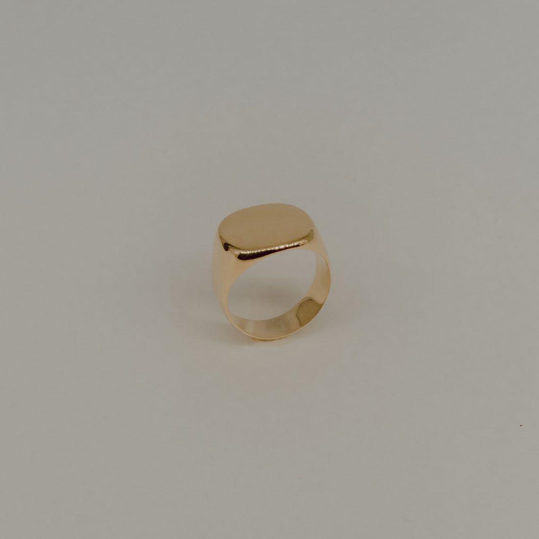 Кольцо печатка без камня, позолота 1