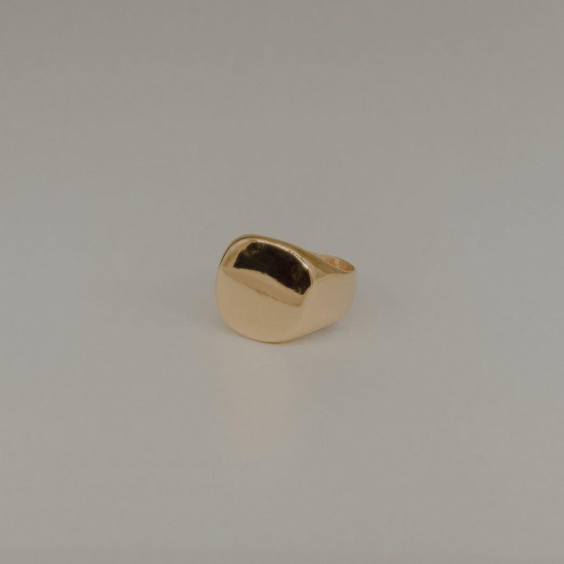 Кольцо печатка без камня, позолота 3