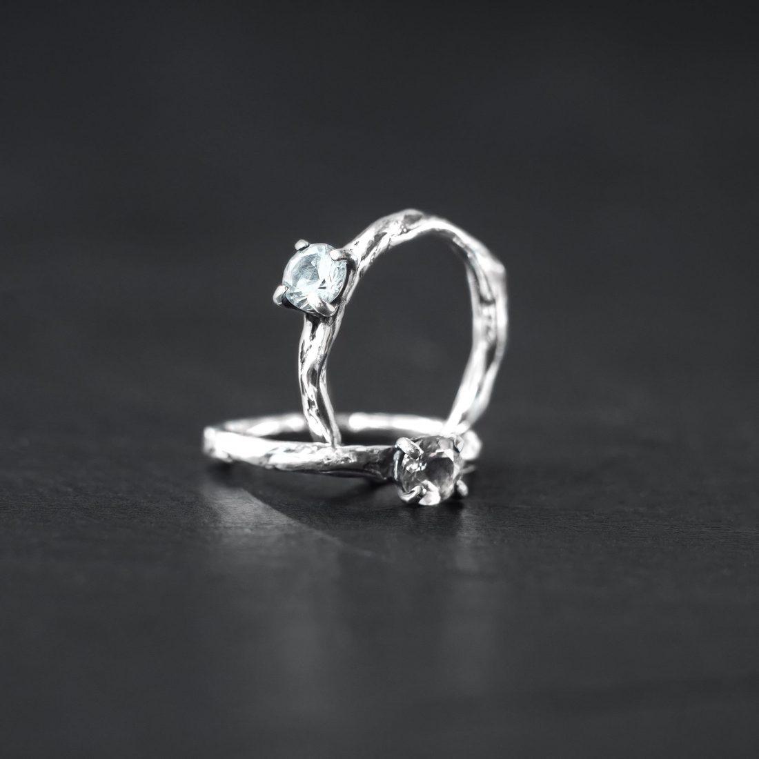 Кольцо текстурное с камнем 5 мм, серебро 3