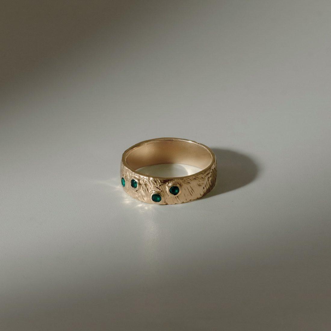 Кольцо «Кора» с четырмя камнями, позолота 2