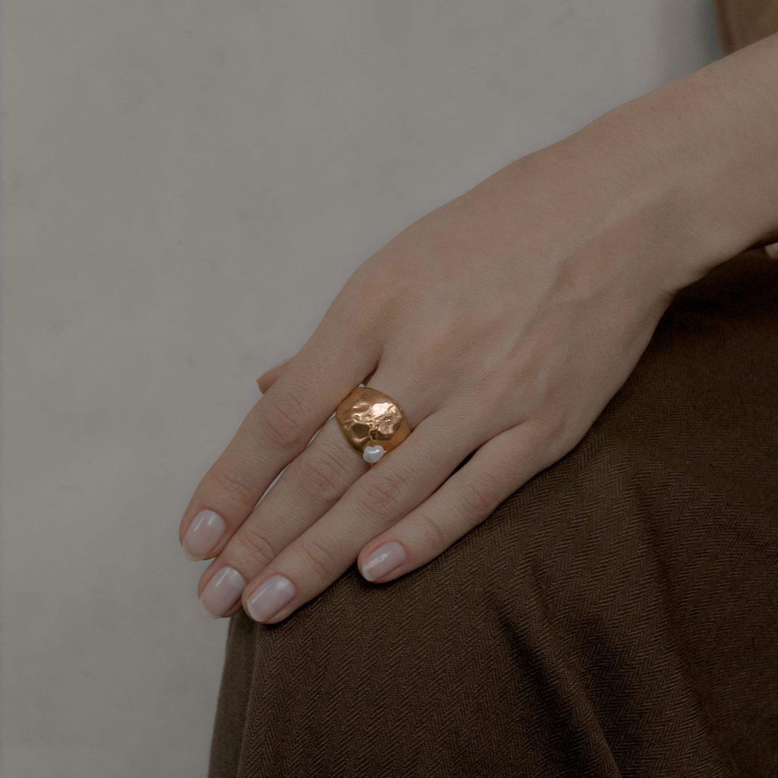 Кольцо «Drop» с позолотой
