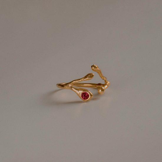 Безразмерное кольцо «Веточка» с позолотой