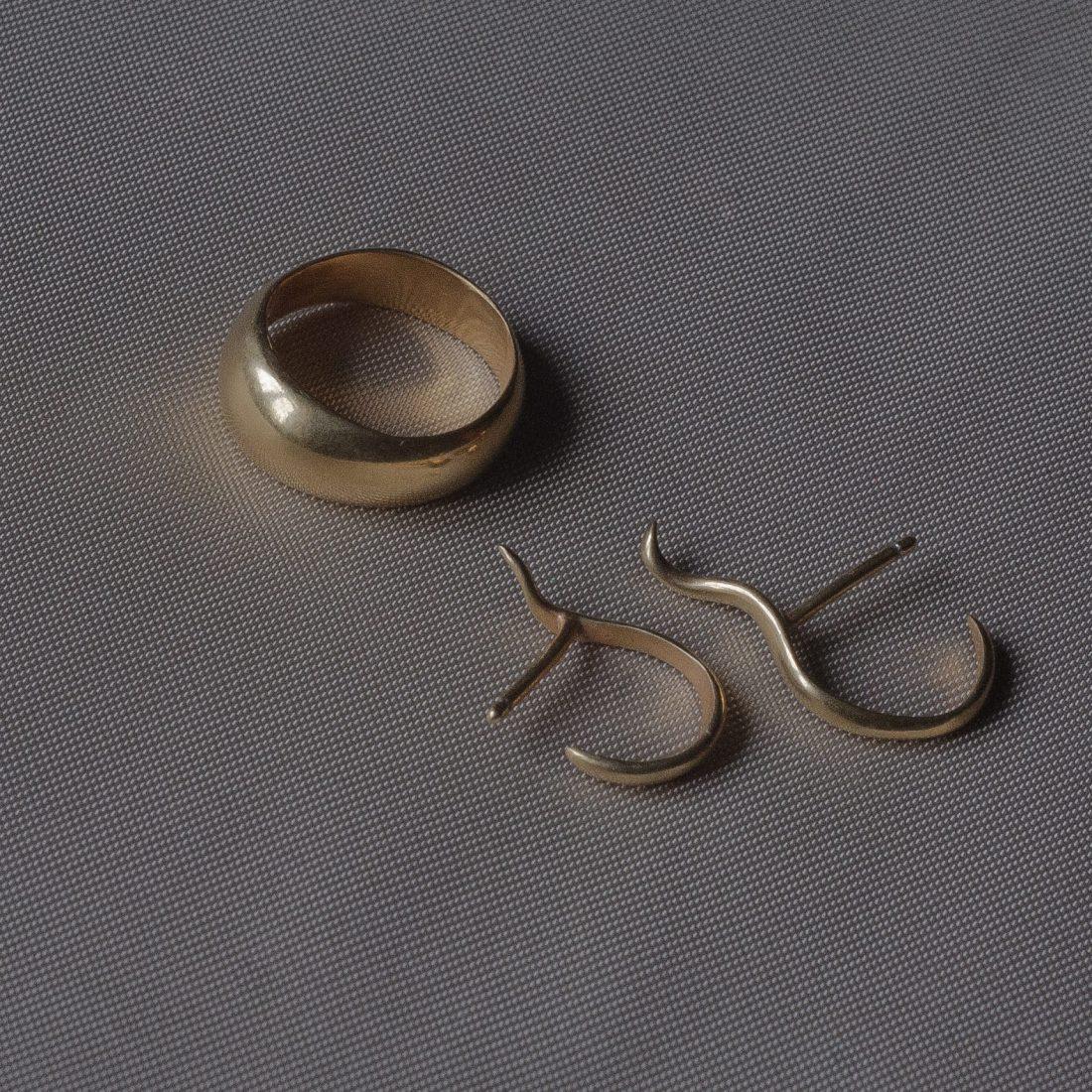 Комплект золотых украшений «Bend»